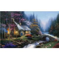 1000片木质拼图定制500托马斯系列油画风景 月下小屋