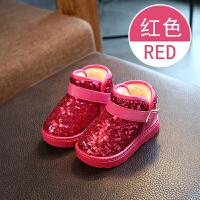 冬季儿童雪地靴女童靴子 宝宝棉鞋女童短靴 加绒毛靴保暖棉靴亮片 3红色