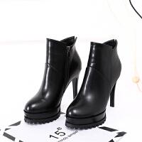 高跟短靴2018秋冬季新款韩版女鞋防水台瘦瘦靴小细跟短筒马丁靴子 黑色 绒里