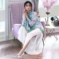 MIUCO欧洲站女装2018早春新款时髦干练气质裤子开叉雪纺阔腿裤潮