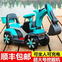儿童电动挖掘机玩具车可坐可骑大号音乐男孩挖土机学步滑行工程车