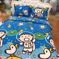 纯棉大口仔卡通床上用品四件套宿舍床上下铺全棉床笠被套枕套 太空人大口仔
