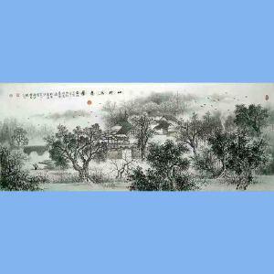 中国美术协会会员,广西省美术家协会理事,国家一级美术师蒋清(山村写意图)