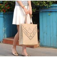 新款帆布包女包 休闲单肩包布袋包文艺手提布包购物袋大包大容量 大号 森系咖啡包(带拉链) 其他