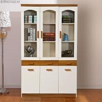书柜三门书柜办公书柜玻璃书柜地中海书柜现代简约书柜 0.8-1米宽