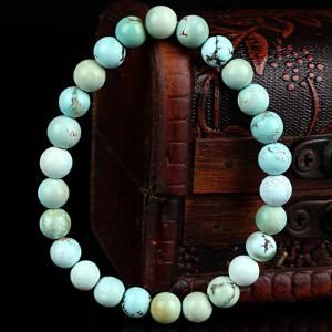 原矿高瓷绿松石圆珠手串  直径7mm