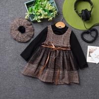 童装女童套装连衣裙 儿童秋时尚帽子+加绒打底衫+背心裙三件套
