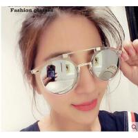 时尚个性双鼻梁大框太阳镜 复古潮流户外墨镜 男女情侣眼镜