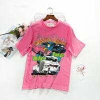粉色老爷车印花短袖T恤女韩版宽松圆领百搭2018夏季新款半袖体恤 粉色 均码