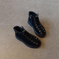 女童短靴 2018秋冬新款加棉低筒马丁靴绒面时尚英伦风棉靴潮