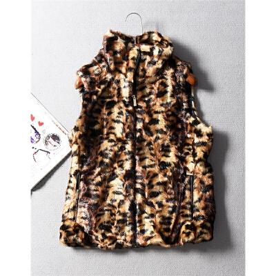 美国单野性豹纹配色立领无袖仿皮草毛绒马甲背心外套秋冬女装0.62