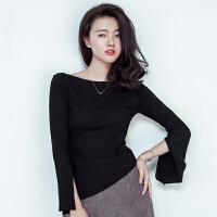 针织衫 女士一字领喇叭袖长袖针织衫2020年秋季新款韩版时尚女式修身女装打底衫