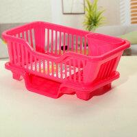 厨房置物架 塑料加厚滴水碗碟收纳架 滤水沥水碗架收纳篮收纳篮盘碗碟置物架子晾碗滴水架 正面侧面随机