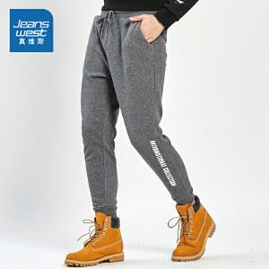 真维斯休闲裤男 2018冬装新款 卫衣布不倒绒印花束脚小脚裤长裤潮