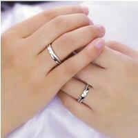 戒指男女 配饰 饰品 情侣对戒 携手一生 925银创意指环配饰 可刻字