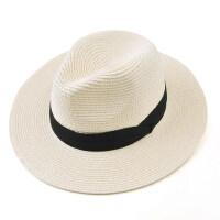 夏季遮阳帽女大沿防晒帽可折叠草帽英伦礼帽巴拿马沙滩度假太阳帽