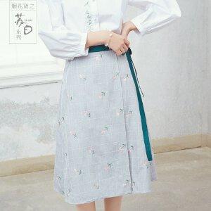烟花烫苏白 2018夏装新款女装气质文艺A型刺绣中长半身裙 飞箫