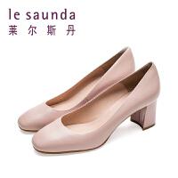 莱尔斯丹 春夏新款温柔女风浅口粗高跟女单鞋9T59001