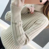 高领毛衣女秋冬2019新款拼色套头修身内搭长袖针织打底衫女内搭潮