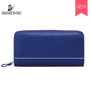 SWAROVSKI/施华洛世奇 经典女士镶水晶长款皮钱包 蓝色5186956