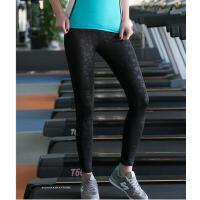 春夏速干训练跑步健身运动裤瑜伽健美印花高弹力打底九分女士紧身压花裤