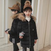 女童装棉衣2017新款韩版儿童金丝绒棉袄真毛领加厚公主羽绒