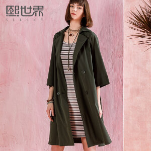 熙世界七分袖中长款风衣女2018春装新款韩版纯色拼接外套111LF087
