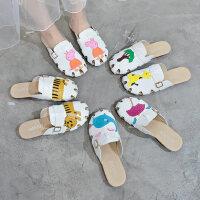 森女系平底沙滩凉拖鞋 女士外穿时尚拖鞋 新款百搭学生包头鞋子 韩版半拖鞋女