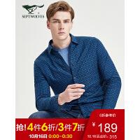 七匹狼长袖衬衫男士2019冬季新款时尚商务休闲加绒格型休闲衬衣 102(深蓝) 165/84A/M