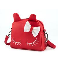 猫咪蝴蝶结斜挎包双肩背包韩版儿童小书包公主女童PU两用包包