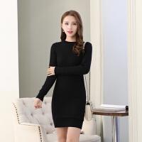 加绒加厚毛衣女2018冬季新款保暖毛衣裙修身打底裙中长款韩版毛衣