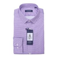 youngor/雅戈尔 新品 BN12645KFA男士紫色保暖细格子长袖衬衣