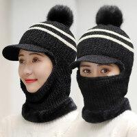 户外保暖加绒加厚骑车帽子女 新款防寒护耳毛线帽子 女士遮脸防风帽天一体帽子女