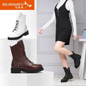 红蜻蜓女靴时尚马丁靴女粗跟系带保暖休闲英伦短靴女
