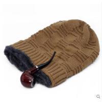 出游老年人帽子男加绒保暖帽针织毛线帽中老年老人老头帽棉帽