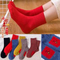 本命年大红色袜女 新款休闲中筒袜女红色纯棉袜子 情侣结婚袜子踩小人袜子女