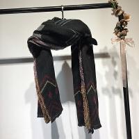 女装秋冬新款欧美风几何菱格波浪保暖围巾情侣百搭围脖