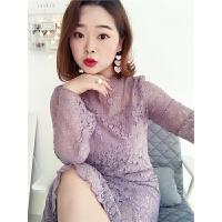 自制大码连衣裙女2018新款名媛气感蕾丝胖mm修身百搭中长裙子 紫粉色 现货