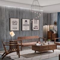 实木沙发冬夏两用北欧布艺现代简约小户型客厅三人白蜡木家具