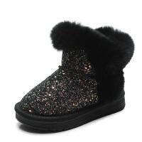 女童雪地靴2018新款冬季加绒保暖儿童棉鞋中大童兔毛低筒公主短靴