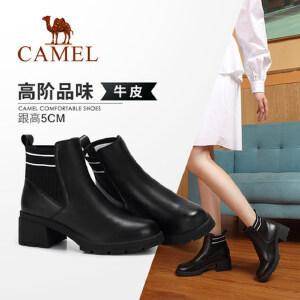 Camel/骆驼2018冬季新款 低跟时尚优雅气质复古粗跟套脚短筒女靴