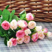 家居饰品仿真花假花人造绢花家居饰品小玫瑰蕾