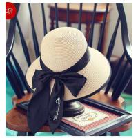 可折叠出游凉帽 遮阳帽子女士防晒草帽大 沿帽休闲百搭 蝴蝶结太阳帽