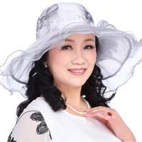 中老年女帽防晒女士遮阳帽夏季大檐沙滩帽中年妈妈帽夏天凉帽薄款