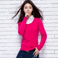春季新款女士圆领纯山羊绒衫修身短款长袖针织打底套头毛衣