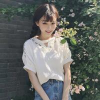 夏装女装韩版小清新刺绣棉麻中袖T恤甜美镂空宽松短袖上衣学生潮