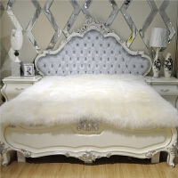 羊毛床垫软垫加厚保暖 纯羊毛床垫皮毛一体羊皮床褥子单双人加厚1.8m整张羊皮羊羔绒床毯 米黄色长毛款>毛长7-8cm