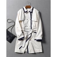设计感撞色收边显瘦腰带收腰挺括有型纯棉长风衣外套秋冬女装0.77