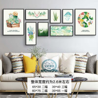 客厅装饰画沙发背景墙北欧风格挂画组合美式墙画现代简约餐厅壁画 多尺寸组合 黑框 整套价格