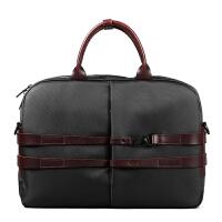 新款男包手提包男商务公文包14英寸电脑包韩版单肩包潮斜挎包休闲包 黑色 英伦的味道